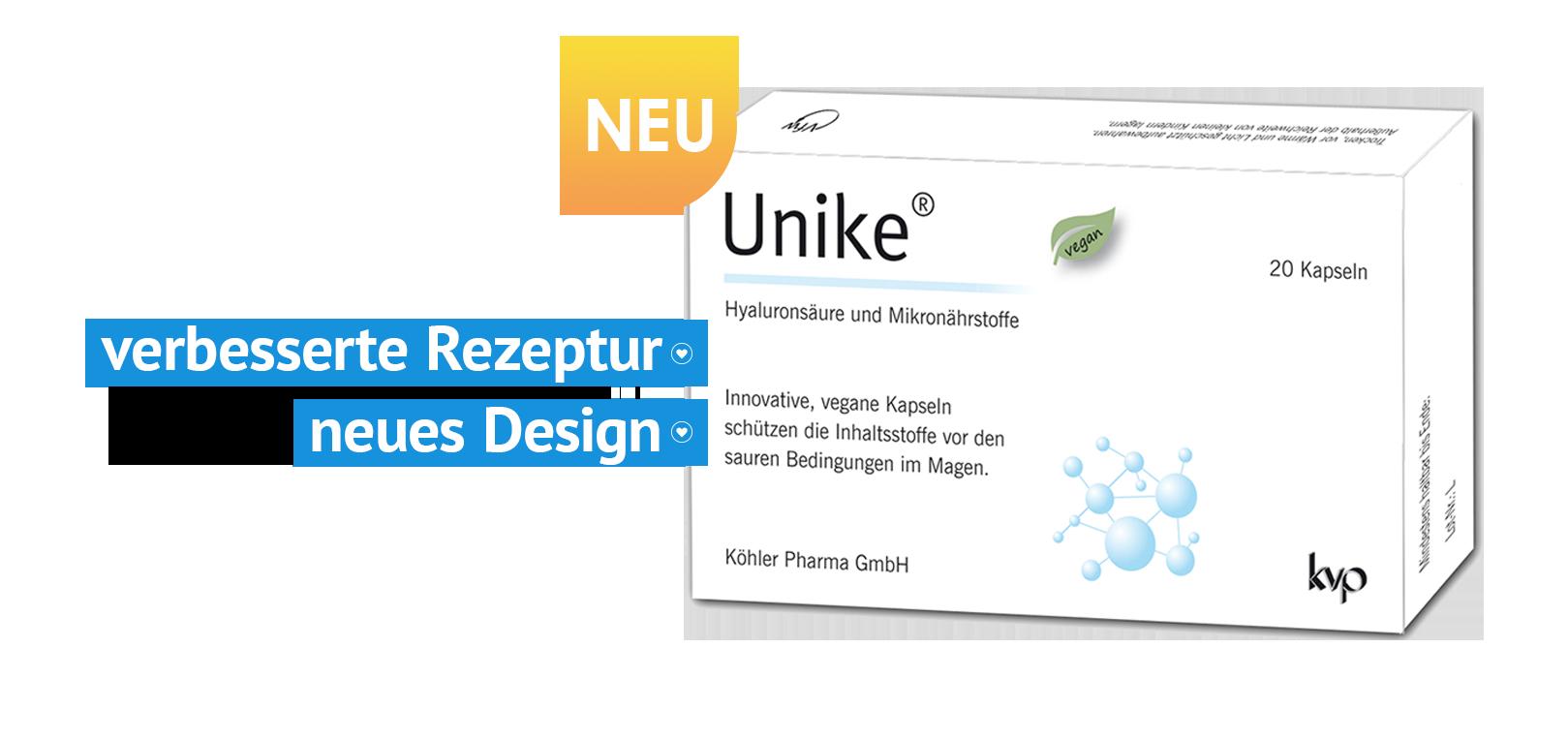 Unike Anti Aging Kapseln mit Hyaluronsäure und Mikronährstoffen in der Originalverpackung.